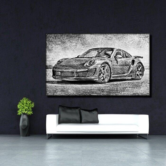LEINWAND BILD ER XXL POP ART GRAFFITI PORSCHE 911 TURBO ABSTRAKT POSTER 150x90