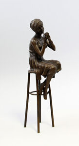 9937206-ds-Bronzo-Scultura-Figura-Bambina-Art-Deco-Lady-Su-Sgabello-BAR-H25cm