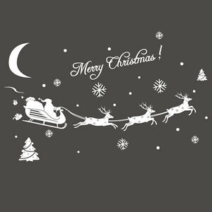 image is loading 1 christmas glass wall window decals santa elk - Christmas Decals For Glass