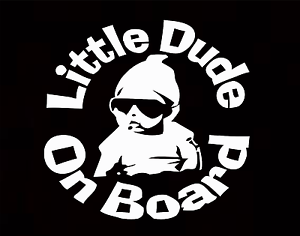 Little Dude On Board Baby Child Window Bumper Car Sign