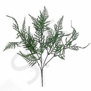 1-BUNCH-OF-ARTIFICIAL-PLASTIC-ASPARAGUS-FERN-25-GREEN-LEAVES-FOLIAGE-WEDDING