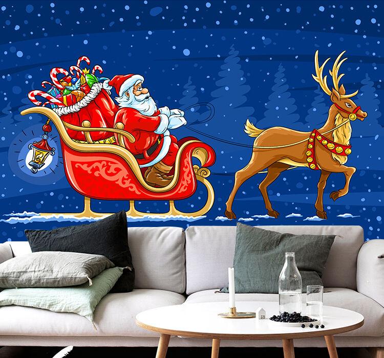 3D Rentier, Weihnachtsmann 3 Fototapeten Wandbild BildTapete Familie DE