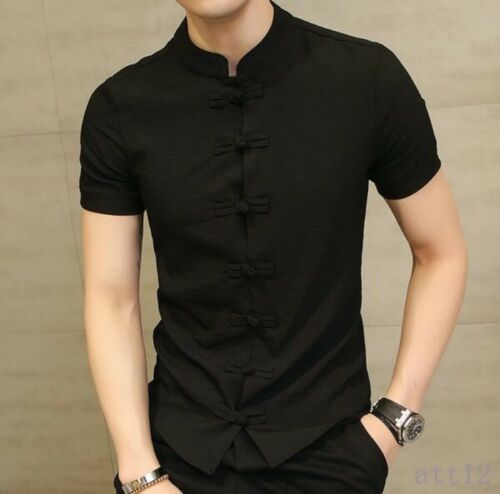 Mens Shirts Short Sleeve Stand Collar Coat Solid Chinese Summer Top Ske15