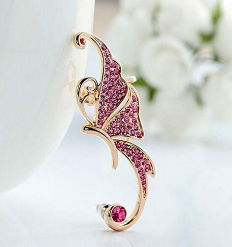 Butterfly Crystal Rhinestone Ear Cuff Clip Cartilage Ear Cuff Earring Accessory