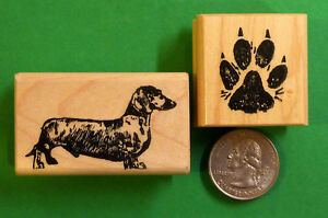 Dachshund Dog Rubber Stamp set of (2) Wood Mounted