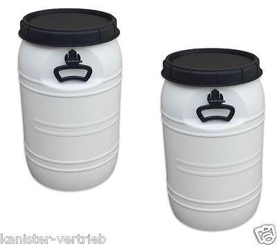 2 x 70 Liter weiß Deckelfass Futtertonne Vorratstonne Kunststofffass Tragegriffe