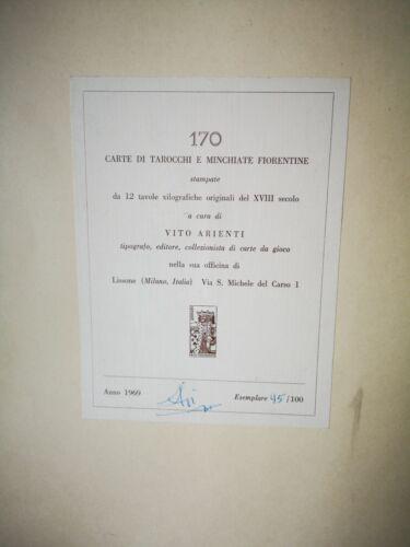 170 Carte Di Tarocchi  Minchiate Fiorentine Vito Arienti 1969 Vintage Tarot