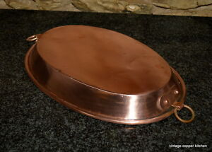 French Vintage 13 Quot New Meat Tin Pie Oval Copper Pan Pot