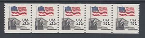 US-Sc-1895-MNH-1981-20c-Flag-Over-Supreme-Court-Plate-1-coil-strip-of-5