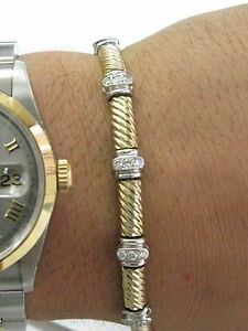 Bezel-Set-Diamond-Two-Tone-Bracelet-14KT-Gold-7-034-70Ct-G-VS2