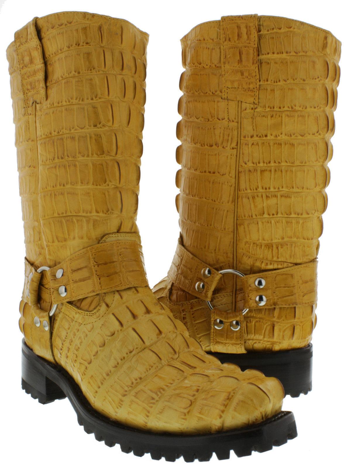 Para Hombre Amarillo Biker Cocodrilo Occidental botas De Vaquero Puntera Cuadrada Arnés De Motocicleta