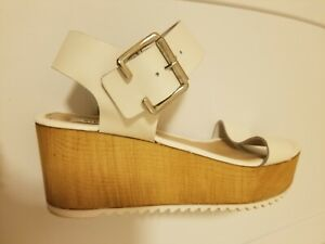 c5fe11c72040 Steve Madden Nylee Sandals Womens Sz 8 white Leather Platform Wedge ...