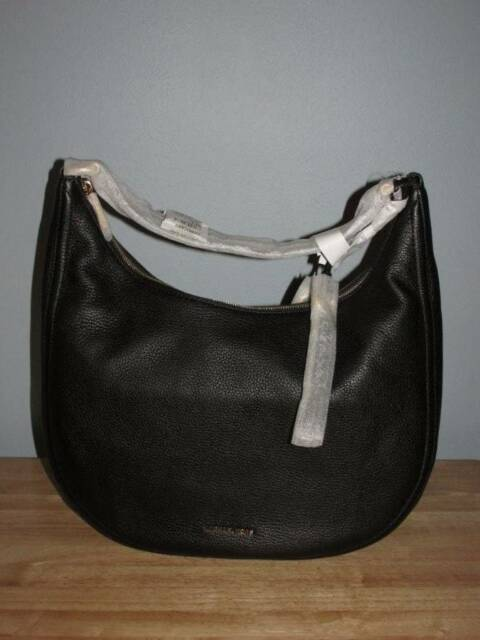 Michael Kors Lydia Large Pebbled Leather Tassel Hobo Shoulder Bag Black Gold Nwt