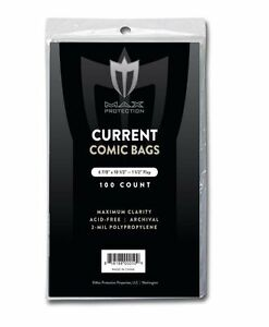 6 7//8x10.5 Lot of 200 BCW RESEALABLE Current Comic Book Archival Poly Bags