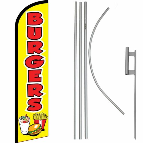 Red Windless Banner Flag /& 16/' Flagpole Kit //Ground Burgers Yellow