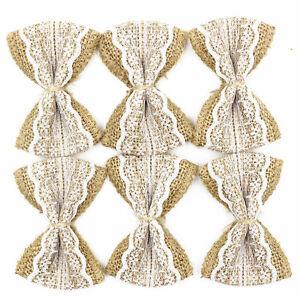 Natural Jute Burlap Ribbon Linen Bow Lace Trim Rustic Wedding Decoration 6cm