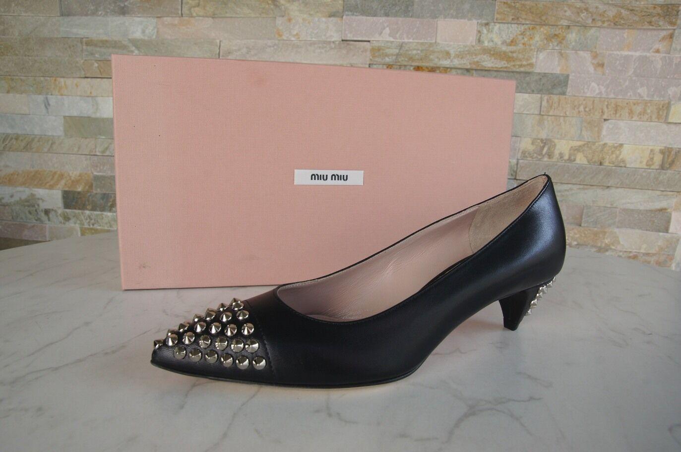 Miu Miu GR GR Miu 36,5 de salón tachuelas zapatos negro 5i9234 nuevo 002557