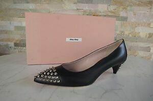 Miu-Miu-Size-36-5-Pumps-Shoes-Black-Rivet-5i9234-NEW