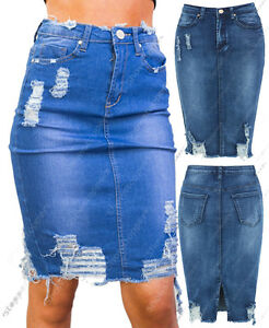New-Women-Distressed-Denim-Pencil-Stretch-Jean-Skirt-Rip-Blue-Size-8-10-12-14-16