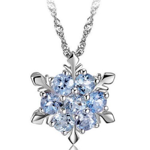 Pendentif flocon de neige en cristal couleur argent chaîne collier deNoël femmes