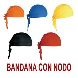BANDANA-pirata-CICLISMO-Hat-COPRICAPO-a-NODO-Chef-cotone-BLU-ROSSA-GIALLA-NERA