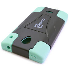 For Sharp AQUOS Crystal Case Hybrid Soft / Hard Stand Phone Cover - Teal & Black