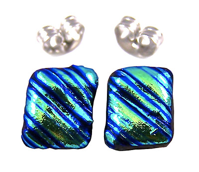 """DICHROIC Earrings Round Green Sage Teal Striped Textured Post 1//4/"""" 8mm STUDS"""
