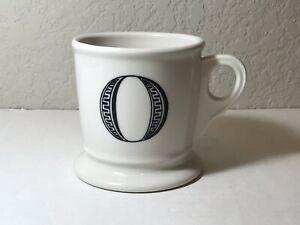 """Anthropologie Monogram """"O"""" Alphabet Mug Shaving Style Cup White Black Letter"""