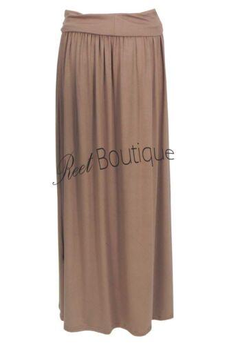 Women Long Length Fold Up Waistband Stretch Ladies Maxi Skirt UK Plus Size 8-26