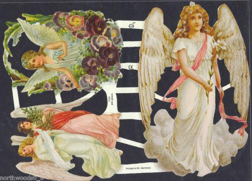 ANGELS FLORAL LARGE PANSY PINK PAPER  SCRAP EF GERMAN