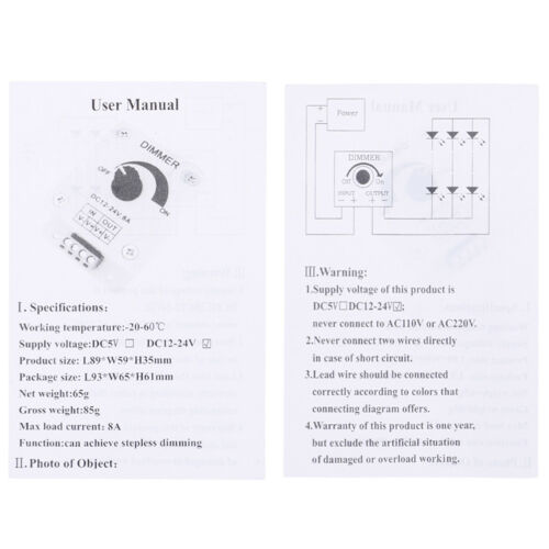 1Pc 12v-24v 8a pir sensor led strip light switch dimmer brightness controller WR