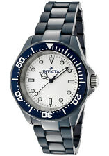New Mens Invicta 1183 Black Ceramic White Dial Quartz Casual Watch