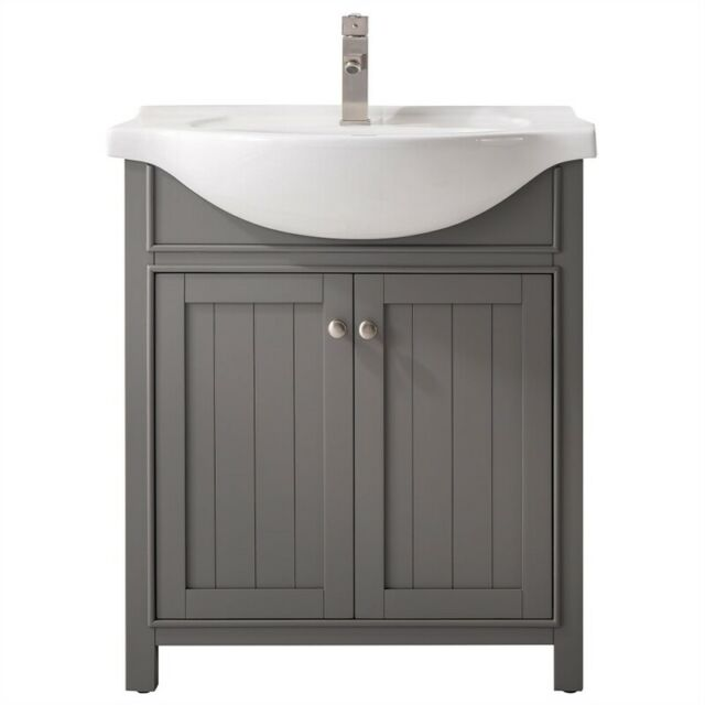 Design Element Mason 24 Inch Single Sink Bathroom Vanity In Gray For Sale Online Ebay