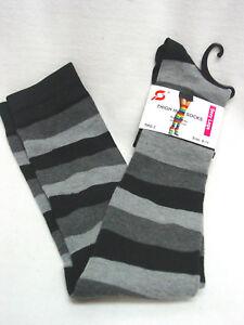 2-Pair-womens-cotton-blend-over-the-knee-thigh-high-socks-stripes-gray-black