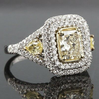 2.34 TCW Radiant Pear Side Diamond Double Halo Engagement Ring 18K Two Tone Gold
