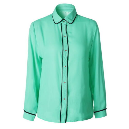 Damen Chiffon Langarm Arbeit Shirt Knopf Solid Taste Solide Bluse Casual Tops LP