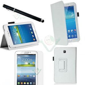 Pellicola-Pennino-Custodia-pelle-BIANCA-Stand-p-Samsung-Galaxy-Tab-3-7-0-7-T2100