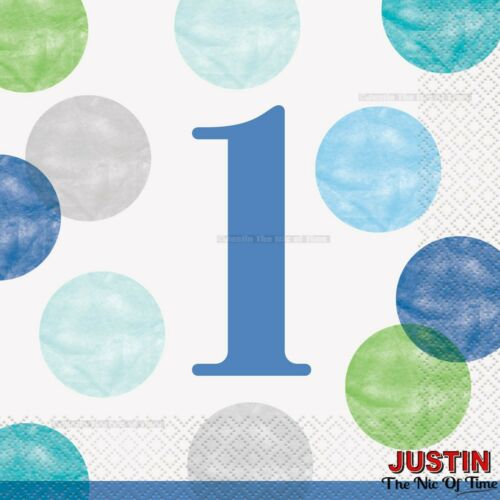 Boys 1st First Birthday Tableware Party Supplies Blue Dots Plates Napkins Kits