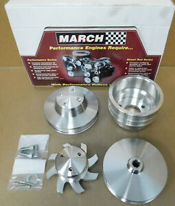 March-Perf-7630-BB-Chevy-LWP-Alum-Pulley-set-W-Water-Pump-Cover-Alt-Pulley-amp-Fan