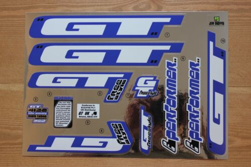Reproduction 2000 GT Pro Performer BMX Decal Set Chrome Backing