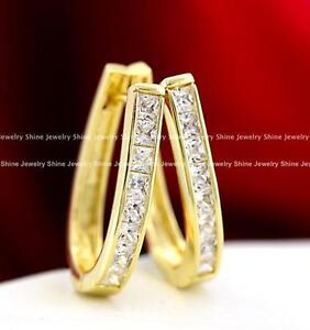 18K-GOLD-GF-WOMEN-OVAL-HOOP-HUGGIE-EARRINGS-SQUARE-SIMULATED-DIAMOND-JEWELRY