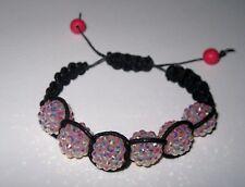 Handwoven shamballa bracelet BLACK waxed cord with PINK acrylic DISCO beads