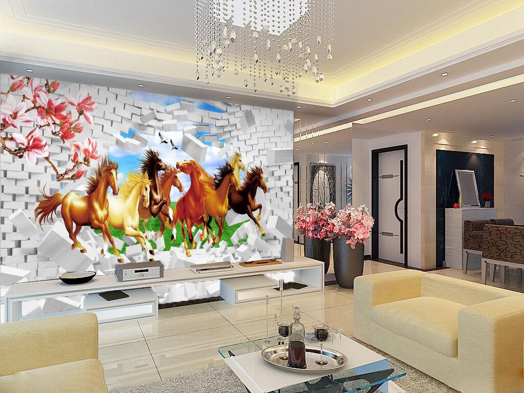 3D Horses Lawn Wallpaper Murals Wall Print Wallpaper Mural AJ WALL AU Lemon