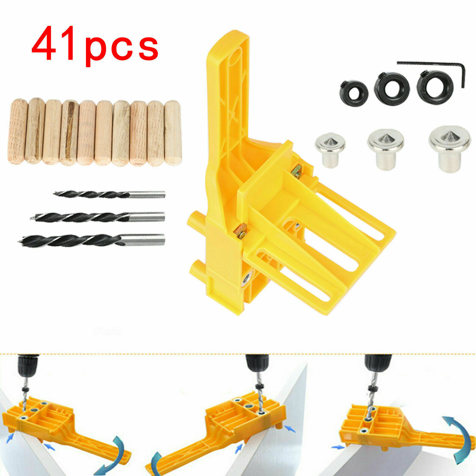 41PC Handheld Woodworking Guide Wood Dowel Jig Drilling Hole Saw Drill Kits Set