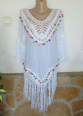 Sale Sommer Hippie Tunika Bluse Gelb-Bunt Bommeln Stickerei Ibiza Style 38-42