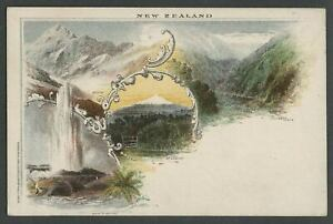 New-Zealand-First-Post-Office-Postcard-of-1897-Unused-Multiview-Lithographed
