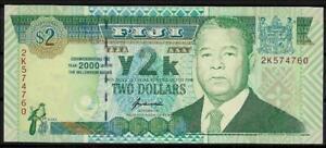 Angemessen Fiji Fidschi 2 $ Dollars Von 2000 Millenium 2k574760 Kassenfrisch Unc. Im Sommer KüHl Und Im Winter Warm