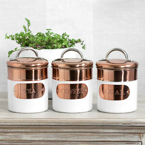 Image Is Loading Set Of White Copper Tea Coffee Sugar Canisters