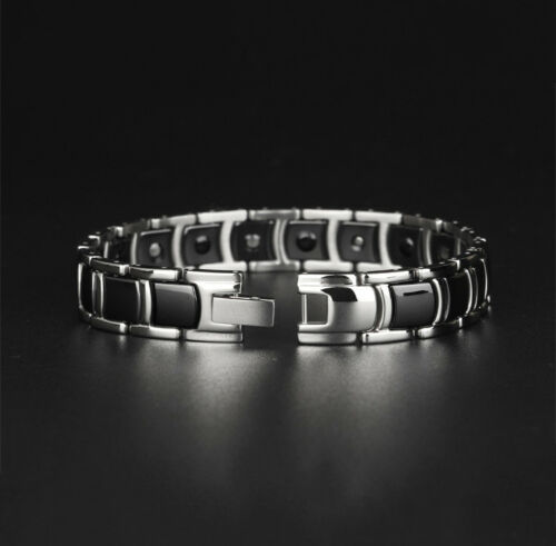 Silver Tungsten Ceramic Magnetic Therapy Health Bracelet Men Women Pain Relief