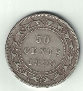 NEWFOUNDLAND-1899-WIDE-99-50-CENTS-HALF-DOLLAR-VICTORIA-STERLING-SILVER-COIN